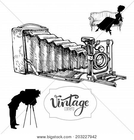 Vintage camera, hand drawn vector illustration and solhouette of photographer and his model