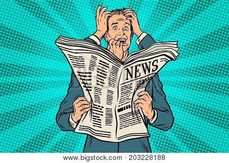 Businessman shocked by bad news, many hands. Pop art retro vector illustration