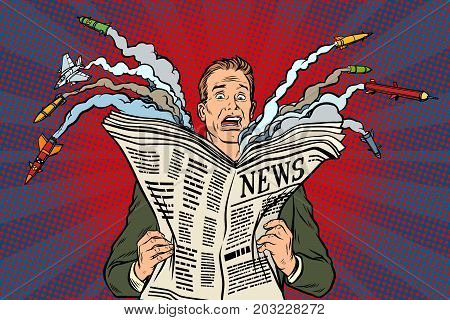 newspaper bad news about nuclear war, the man shocked. Pop art retro vector illustration