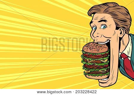 hungry man with a giant Burger in your mouth, street food. Pop art retro vector illustration