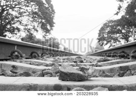 Stone On The Rail Way On The Morning With Copy Space