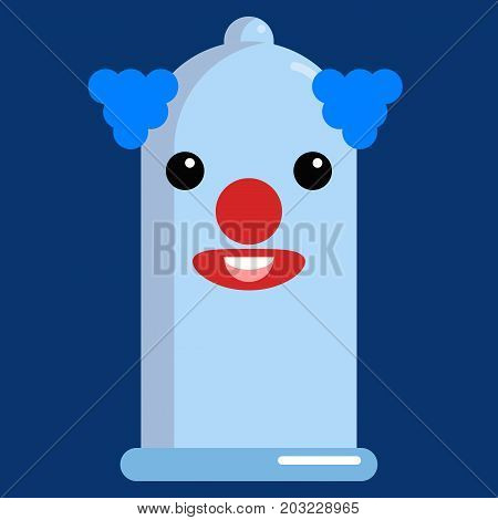 Clown Face condom emoji vector illustration. Flat style design. Colorful graphics