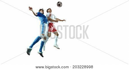 Soccer players on a white background. Isolated soccer players in unbrand clothes.