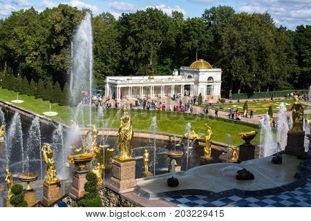 St.PETERSBURG, RUSSIA - SEP 5, 2017: The fountains of the Grand Cascade in Peterhof. Is one of the largest fountains in the world. Peterhof Palace included in the UNESCO's World Heritage List.