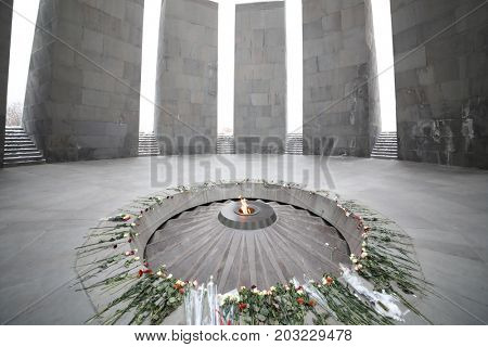 YEREVAN, ARMENIA - JAN 5, 2017: Memorial complex Tsitsernakaberd, dedicated to genocide of armenians in 1915