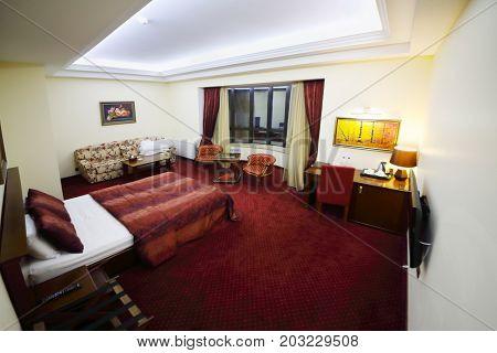 TSAGHKADZOR, ARMENIA - JAN 6, 2017: Suite in Hotel Elegant Hotel and Resort is located 1.2 km from ski lift Tsaghkadzor 5 in ski resort