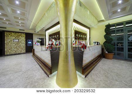 YEREVAN, ARMENIA - JAN 6, 2017: Man in reception in Hotel National, it is modern hotel, member of Luxury Group
