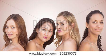 Portrait of beautiful women against neutral background