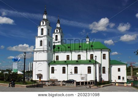 MINSK, BELARUS - AUGUST 01, 2013: The building of Holy Spirit Cathedral church (the modern building was built in the XVIII century). It is the central cathedral of the Belarusian Orthodox Church.