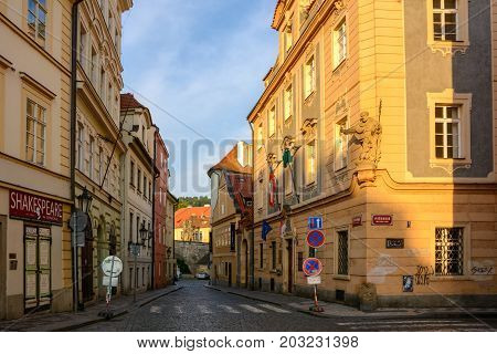 Czech Republic, Prague - June 5, 2017: Morning street without people at dawn in Prague, Bohemia