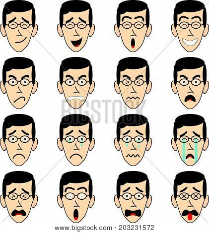 16 Man-Face-With-Eyeglasses Emoji on White Background As 4 Groups Of Facial Expressions Happy Angry Sad Frightened. Useful For General Cartoon Face And Emotional Reaction.