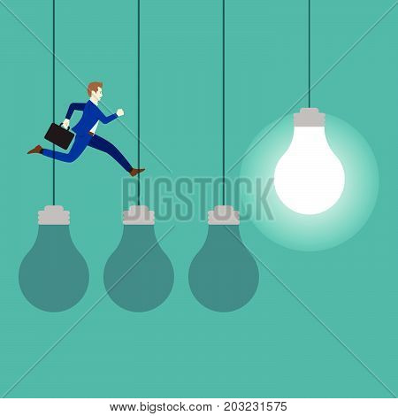Business Concept As A Businessman Is Jumping On Three Dark Light Bulbs To A Bright One. It Means Changing From Old Ideas To The New One Including Creativity Innovation And Improvement.