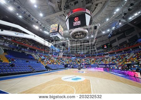 MOSCOW - JAN 27, 2017: Basketball court before game CSKA (Moscow) - Anadolu Efes (Istanbul) in Megasport stadium