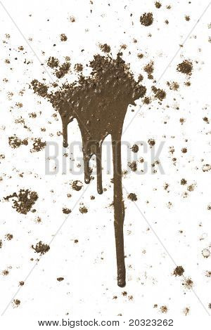 Splattered mud with drip pattern isolated on a white background