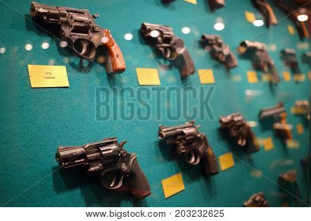 MOSCOW - SEP 22, 2016: Many guns at museum on Petrovka, 38, Main Department of Moscow Ministry of Internal Affairs