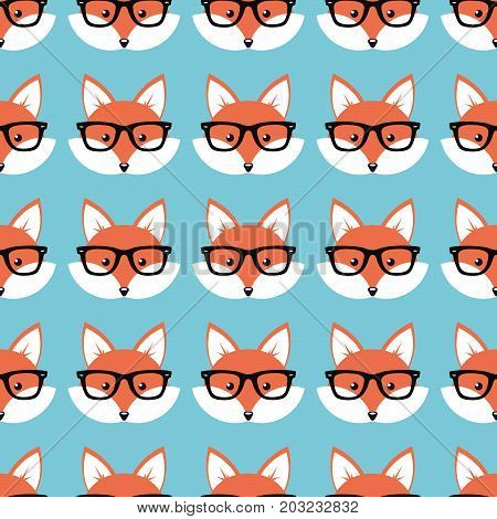 Smart cartoon foxes, Vector seamless pattern with foxes faces in glasses