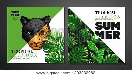 Tropical palm leaves vector photo free trial bigstock tropical palm leaves background invitation or card design with jungle leaves jaguar and leopard stopboris Choice Image