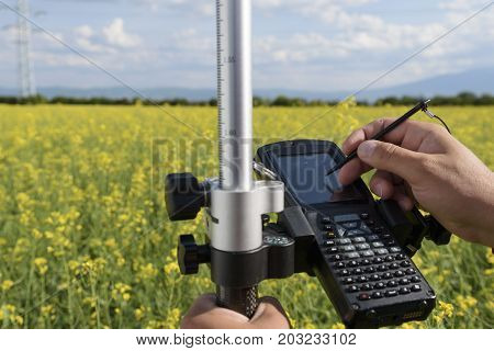 Rapeseed Controller Hands Hold Field Agriculture Keyboard