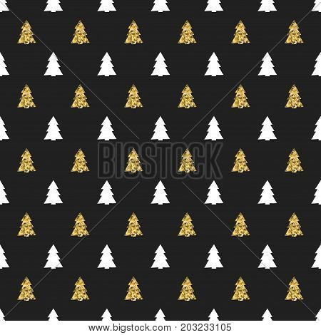 Christmas New Year seamless pattern with christmas tree. Holiday background. Gold christmas tree. Xmas winter doodle decoration. Golden texture. Hand drawn vector illustration. Wrapping gift paper