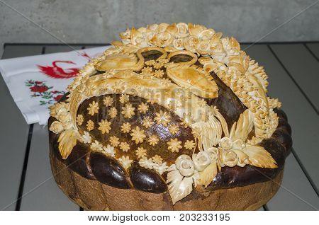 big beautiful bread for wedding feast in Ukraine wedding loaf