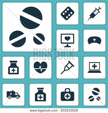 Antibiotic Icons Set. Collection Of Cap, Injection, Database And Other Elements
