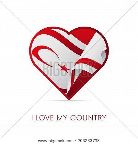 Northern Cyprus flag in heart. I love my country. sign. Vector illustration.