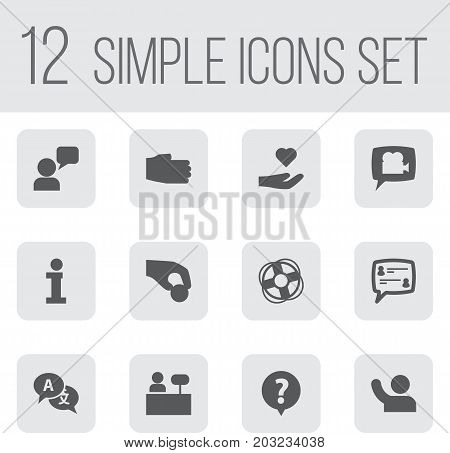 Collection Of Undertake, Info, Assistant And Other Elements.  Set Of 12 Maintenance Icons Set.