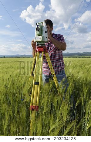 Wheat field Surveyor Engineer Geodesy Young man