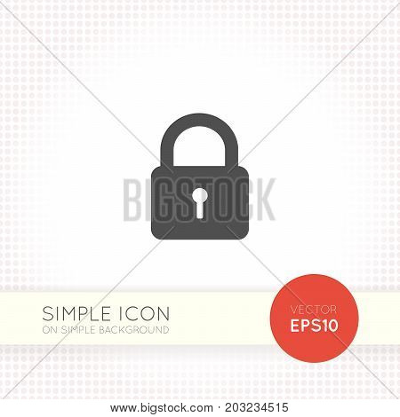 Lock flat icon isolated on simple light background. Darck gray lock symbol for interface button, web icon and logo.