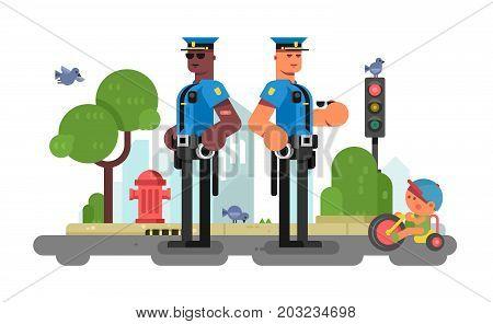 Police patrol officer on city street. Officer urban policeman in uniform and cap. Vector illustration