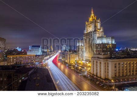 MOSCOW - FEB 1, 2016: Ministry of Foreign Affairs building with illumination at night. This building is one of famous Stalin skyscrapers