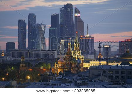 MOSCOW - JUN 11, 2015: Modern Moscow International Business Center and Kremlin. Investments in Moscow International Business Center was approximately 12 billion dollars