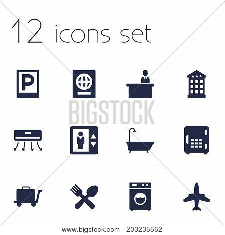 Collection Of Carriage, Check In, Strongbox And Other Elements.  Set Of 12 Motel Icons Set.