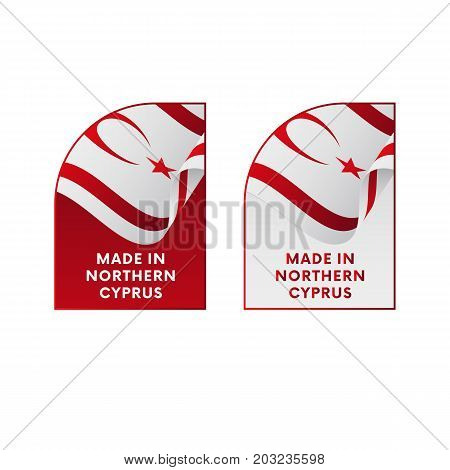 Stickers Made in Northern Cyprus. Vector illustration.