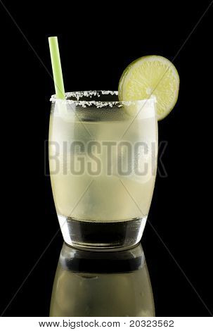 Margarita on the rocks isolated on a black background