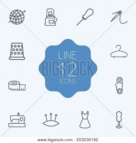 Collection Of Tremble, Crochet, Dummy And Other Elements.  Set Of 12 Stitch Outline Icons Set.