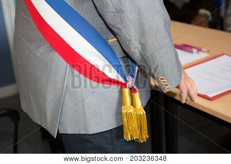 French Mayor With A Scarf Flag During Ceremony Weeding Day