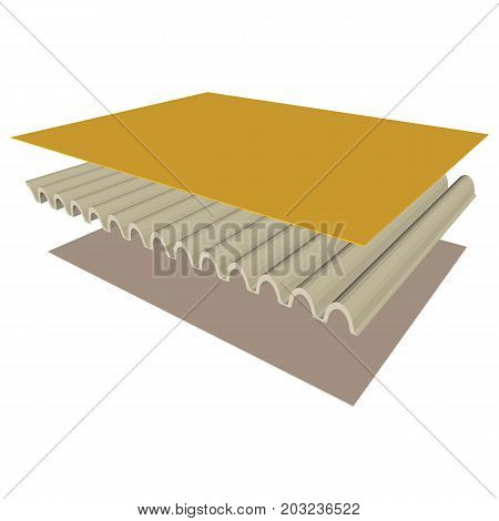 Three dimensional of the Single wall board isolated on white background.