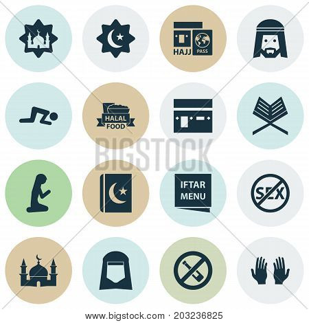 Religion Icons Set. Collection Of Travel, Palm, Food And Other Elements