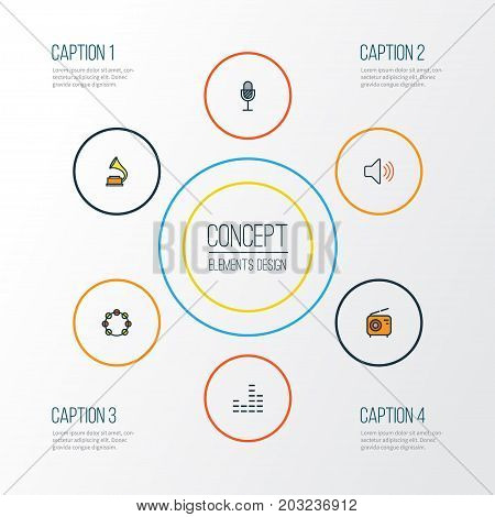 Music Colorful Outline Icons Set. Collection Of Amplifier, Volume, Tambourine And Other Elements