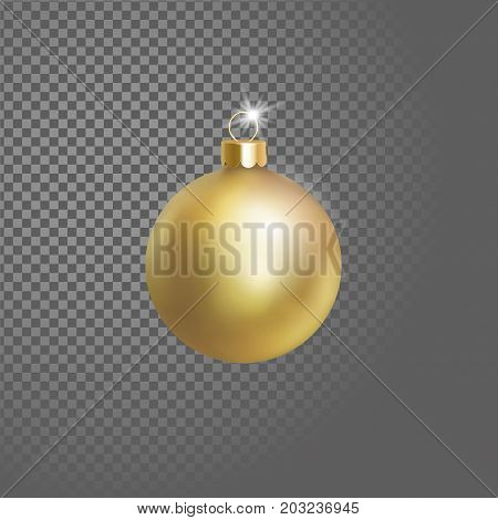 Matted yellow gold Christmas ball tree decoration. 3d realistic isolated on transparent background design element. New Year round adornment golden metallic hanging vector illustration art poster