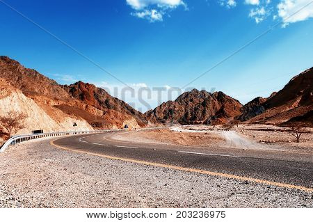 Nice view on Mountain road. Vintage look