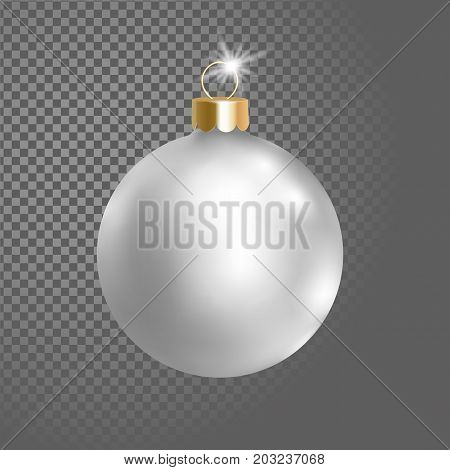 Matted white silver Christmas ball tree decoration. 3d realistic isolated on transparent background design element. New Year round metallic adornment golden hanging vector illustration art