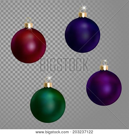 Collection of Christmas ball tree decoration dark blue green wine purple saturated color. 3d realistic isolated on transparent background design element. New Year round metallic adornment golden hanging vector illustration art