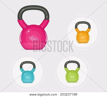 Kettlebells. Equipment for fitness. Sport inventory. Vector illustration.