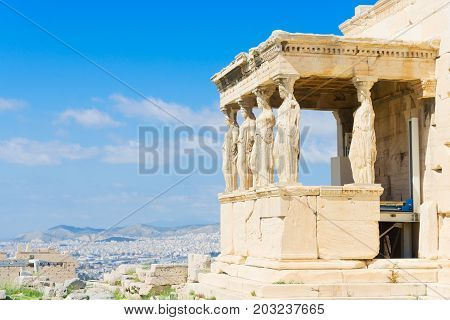 details of Erechtheion temple in Athenian Acropolis, Athens Greece