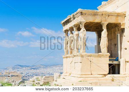 details of Erechtheion temple in Athenian Acropolis, Athens Greece
