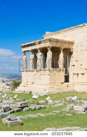 famous Erechtheion temple in Acropolis of Athens, Greece