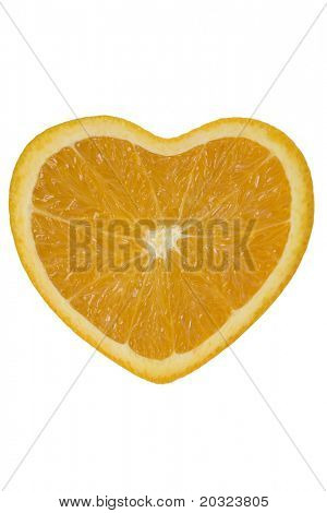 Orange slice in the shape of a heart