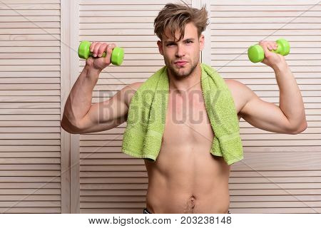 Athlete With Naked Torso After Morning Shower